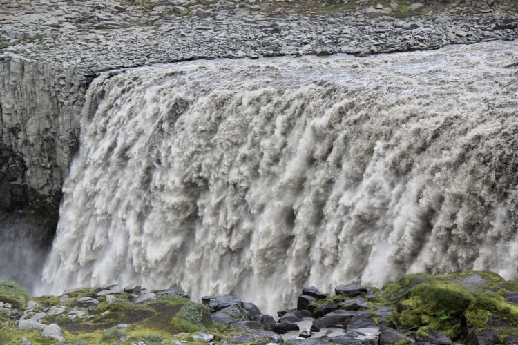 Dettifoss waterfall seen from the mossy west side in north iceland