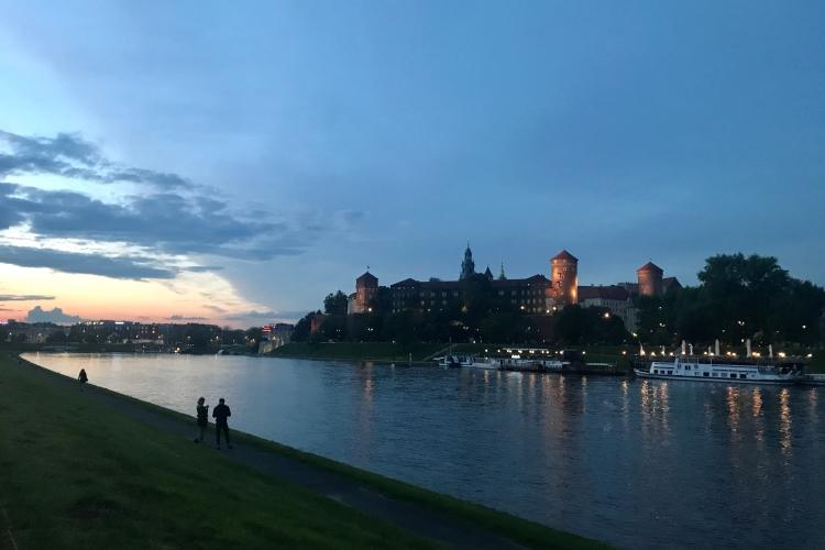 Sunset over the Vistula river and Krakow castle