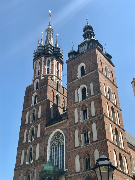 The two uneven towers of St Mary's Basilica in Krakow