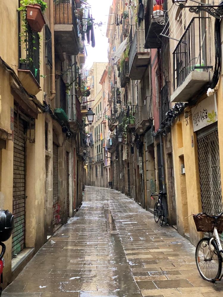 wet alleyway in the El Born neighbourhood in Barcelona