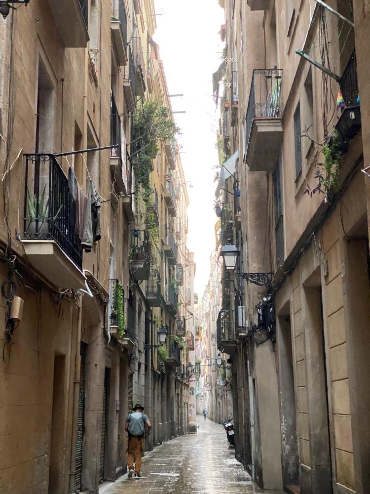 wet streets in Barcelona in September