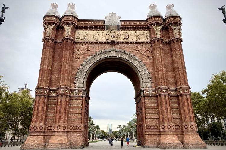 red-bricked Arc De Triomf in Barcelona